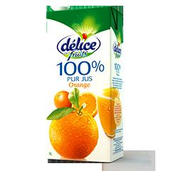 Jus Délice 1L de fruits 100% pur jus orange