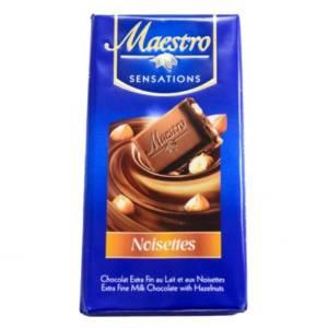 2*Chocolat au lait et noisettes Maestro 90g