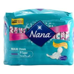 Serviettes périodiques Maxi Super Nana Secure Fit 9 serviettes