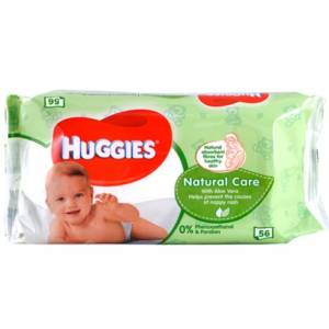 Lingettes Bébé Huggies Natural Care Paquet de 56 lingettes