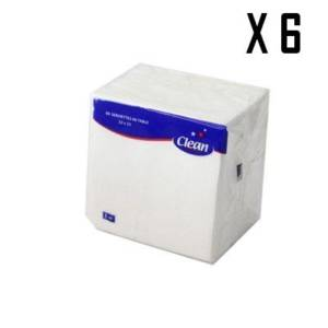 6* CLEAN 90 Serviettes de Table 1 PLI 23*23 cm